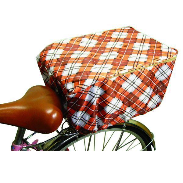 画像1: デザインバスケットカバー 後ろカゴカバー オレンジ